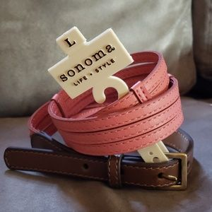 Sonoma Strappy Pink Belt with Brown Accent